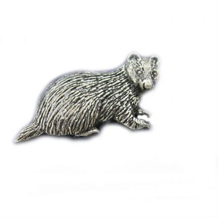 Badger Pewter Pin Badge